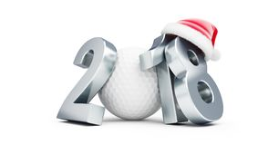 2018 new year golf bal santa hat on a white background 3D. Illustration, 3D Royalty Free Stock Images