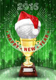 New Year 2016 Golf ball decorated greeting card. Golf ball and Santa red hat on trophy. New Year colorful greeting card with numbers of 2016. Decorated Royalty Free Stock Photo