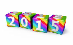New Year 2015. Gradient colored cubes ( on white and clipping path Royalty Free Stock Photos