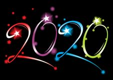 New Year 2020 grand event. Celebration of New Year 2020 created from colorful glowing fireworks stock illustration