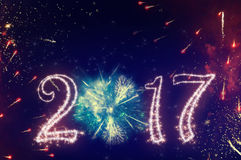 New year 2017 graphic banner. Beautiful concept of 2017 new year with fireworks on background and space for text stock image