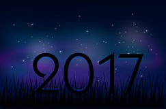 2017 new year graphic. Illustration of evening sky with stars and text 2017 Royalty Free Stock Photography