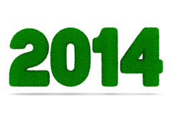 2014 new year from grass. 2014 new year. 3D image Royalty Free Illustration
