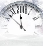 2018 New Year background with clock. 2018 New Year gray background with clock and snow. Vector illustration Royalty Free Stock Photo