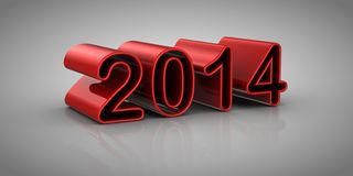 New Year 2014. Gray background, 3d render Stock Photography