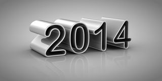 New Year 2014. Gray background, 3d render Stock Image