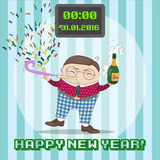 New Year greating card with funny cartoon character. Stock Photo