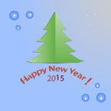 New year,gree, christmas ,tree,over blue background ,flat ,design, vector illustration . Royalty Free Stock Image