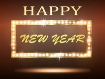 The New Year Greeeting Banner With Retro Light Bulb. Vector Stock Photography