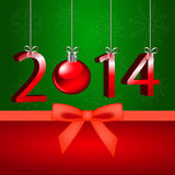 New year 2. 2014 on a green background Royalty Free Stock Image