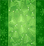 New year green background. Original green new-year background from stylized snowflakes and christmas tree stock illustration