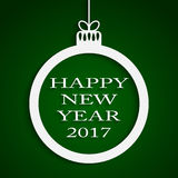 New Year Green Background. Christmas Ball. 2017. Round Christmas Frame on Star Sky Night. Green Abstract Background. Christmas Ball. Template Postcard Greeting Royalty Free Stock Photography