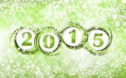 New year 2015 in green background Royalty Free Stock Photography