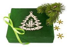 New Year green box, twig Christmas tree Royalty Free Stock Images