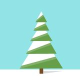 New year green christmas tree flat icon design Royalty Free Stock Photography