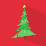 New year green christmas tree over red flat icon Royalty Free Stock Images