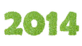 New year 2014 from the green grass. On white Royalty Free Stock Photography