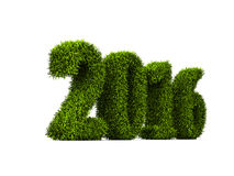 2016 new year green grassed concept isolated on white background Stock Image
