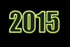 New year 2015 green neon lights on black. New year 2015 in green neon lights Royalty Free Stock Images