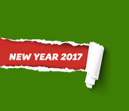 New Year green vector torn edge template and paper roll with rough fringe. Merry Christmas colors illustration. Hole in. Vector torn paper template for New Year Royalty Free Stock Image
