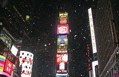 New Year Greeted at Times Square. This was shot in New York on Dec. 31, 2008 and Jan. 1, 2009. The 2009 new year arrives and the famous New Year's Eve Ball royalty free stock images
