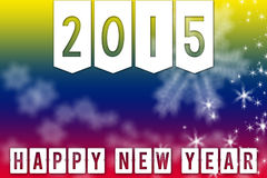 2015 New Year greeting banner background. Happy New Year 2015 greeting colorful facebook backgroundbanner with white snowflakes and stars Royalty Free Stock Images