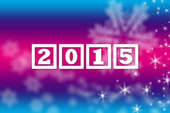 2015 New Year greeting banner background. Happy New Year 2015 greeting pink blue facebook background banner with white snowflakes and stars Royalty Free Stock Photos