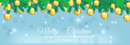 New Year greeting banner with a Christmas tree and golden  balls. New Year greeting banner with a Christmas tree and golden Christmas balls on a blue background Stock Image