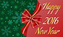 New Year greeting banner decorated with big red bow and golden stripes, dark green background with snowflakes. Abstract New Year greeting banner decorated with Royalty Free Stock Image