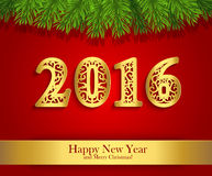 New Year greeting banner with fir branches and golden date 2016 Stock Image