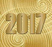 2017 New Year greeting banner. Luxurious golden numbers on elegant spiral. Patterned golden background. Nice billboard to New Year welcome party, invitation Stock Image