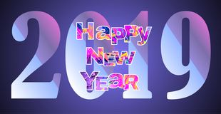2019 New Year greeting banner with multicolored bright text. Happy new year theme multicolored greeting banner. Including bright text. used clipping mask royalty free illustration