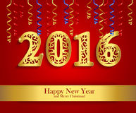 New Year greeting banner with paper streamers and golden date 20 Stock Photos