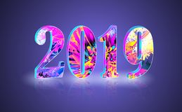 2019 New Year greeting banner with reflect. Happy new year theme multicolored greeting banner. Including bright colors and 3d numbers with reflect. used clipping vector illustration