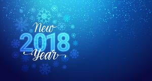 New Year 2018 Greeting Banner With Snowflakes Bokeh On Blue Background. Vector Illustration Stock Image