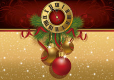 New Year greeting banner with xmas balls and clock. Vector stock illustration