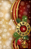 New Year greeting banner with xmas clock.  Stock Photo