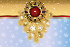 New Year greeting banner with xmas golden clock. Vector Stock Photos