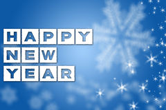 New Year greeting blue background. Happy New Year greeting blue background with white snowflakes and stars stock images