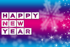 New Year greeting blue pink background Stock Images