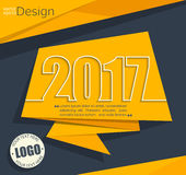 New 2017 year greeting business card. New 2017 year greeting business card made in origami style, vector illustration Royalty Free Stock Image