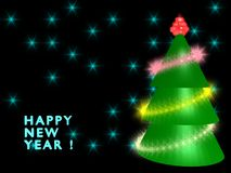 New year greeting card. With fir Stock Photo
