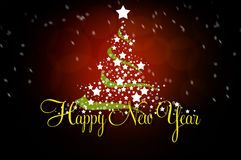 New year greeting card. With christmas tree and stars Royalty Free Stock Image