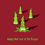 New year greeting card. Cute Baby Dragon with message Happy New Year Royalty Free Stock Photo
