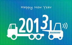 New Year greeting card. Happy New Year greeting card - fork lift truck at work Stock Photos