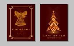 New Year greeting card with abstract christmas tree and bell. New Year greeting card with abstract christmas tree and bell on red Stock Photos