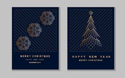 New Year greeting card with abstract christmas tree and snowflak. Es Royalty Free Stock Photo