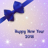 New Year 2018. Greeting card adorned with a bow with ribbon. Shine background with snow and stars. Stock Images