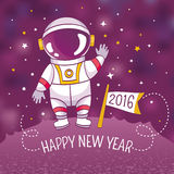 New Year greeting card with astronaut. Vector illustration, contains gradient mesh Stock Image