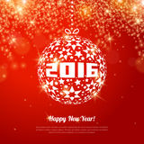 2016 New Year Greeting Card with Ball. Vector illustration. Shining Red Wallpaper. Sparkling Colorful Ornament Design. Christmas Bauble with Star Pattern and Vector Illustration